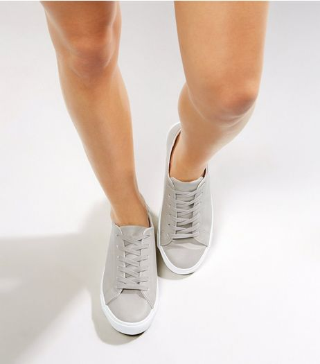 Grey Lace Up Contrast Sole Trainers | New Look