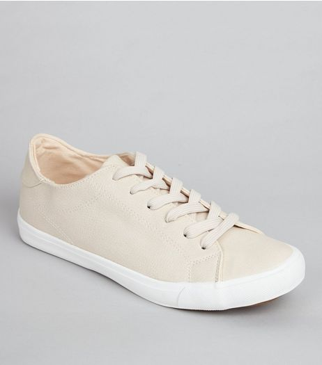 Cream Lace Up Contrast Sole Trainers | New Look