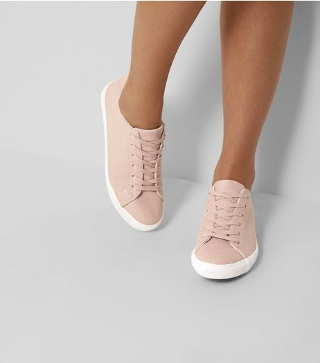 Pink Lace Up Contrast Sole Trainers | New Look
