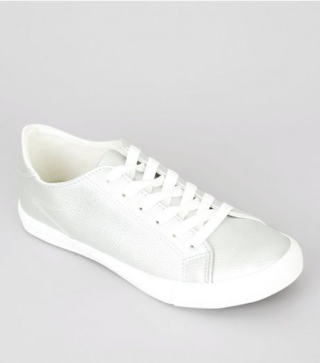 Silver Contrast Sole Lace Up Trainers | New Look