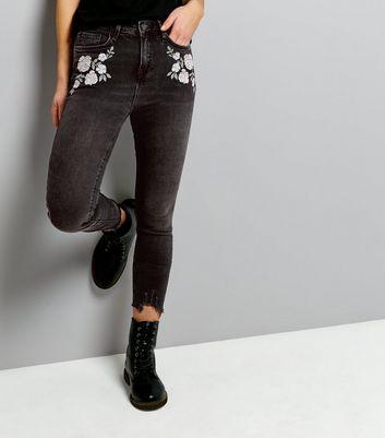Black Fray Hem Embroidered Skinny Jenna Jeans