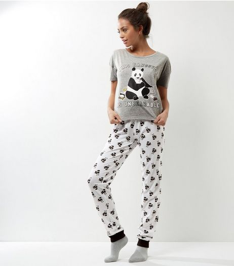 Grey Hangover Panda Print Pyjama Set | New Look