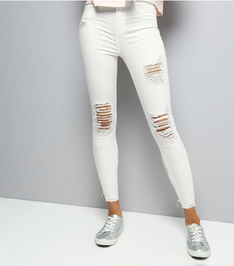 Cream Ripped Skinny Jeans | New Look
