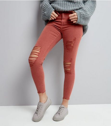 Red Ripped Skinny Jeans | New Look