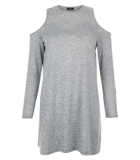 Teens Grey Fine Knit Cold Shoulder Swing Dress | New Look