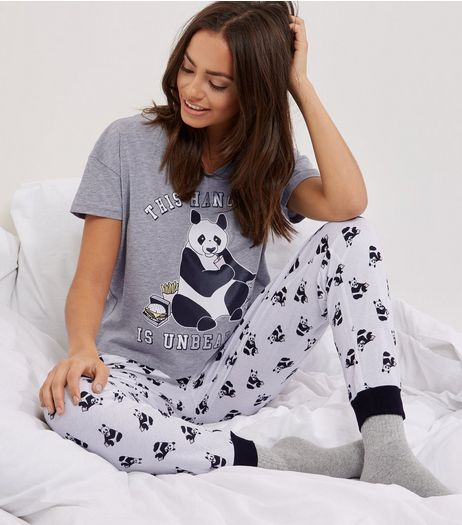 Petite Grey Hangover Panda Pyjama Set | New Look