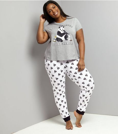 Curves Grey Hangover Panda Pyjama Set | New Look