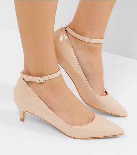 Nude Patent Mid Heel Ankle Strap Court Shoes | New Look