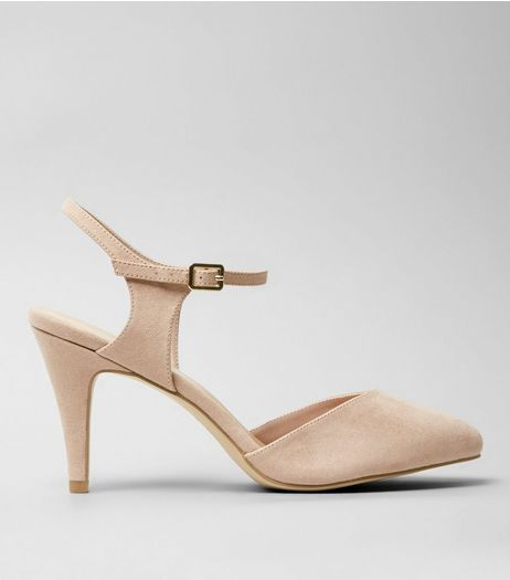 Wide Fit Stone Soft Pointed Ankle Strap Heels | New Look