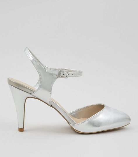 Wide Fit Silver Metallic Ankle Strap Heels | New Look