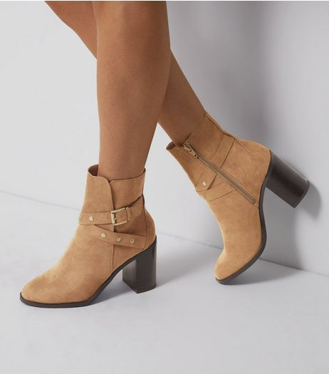 Wide Fit Tan Suedette Stud Strap Heeled Boots | New Look