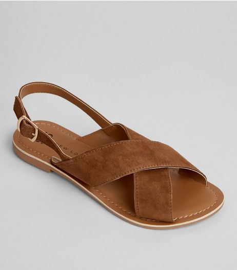 Teens Tan Suede Cross Front Sandals | New Look