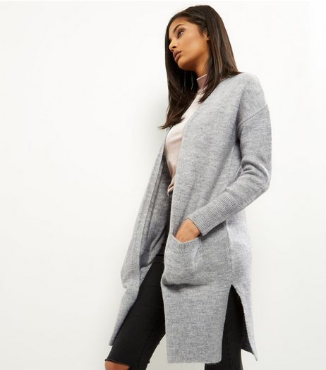 Pale Grey Double Pocket Longline Cardigan | New Look