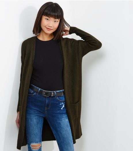 Khaki Double Pocket Longline Cardigan | New Look