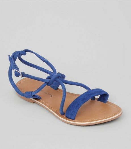 Teens Blue Suede Knot Strap Sandals | New Look