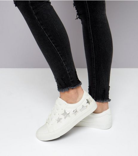 Teens White Metallic Star Trainers  | New Look