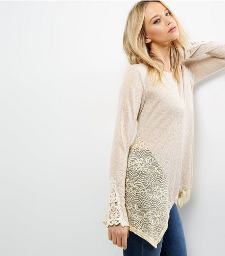 Apricot Cream Lace Panel Swing Top | New Look