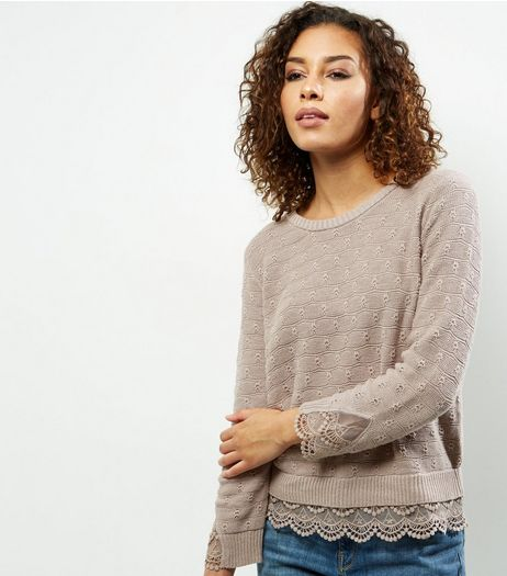 Apricot Stone Lace Trim Cotton Jumper | New Look