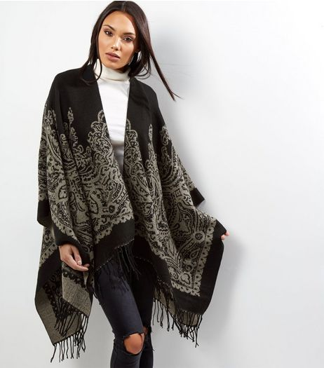 Apricot Stone Paisley Fringed Cape  | New Look