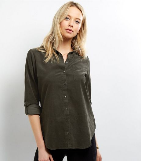 Apricot Khaki Cotton Cord Shirt | New Look