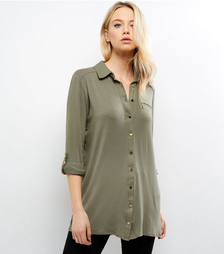 Apricot Khaki Longline Gold Button Shirt | New Look