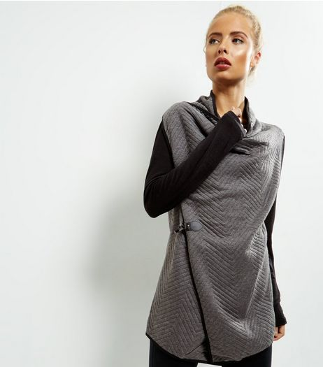 Apricot Grey Chevron Quilted Wrap Front Drape Cardigan | New Look