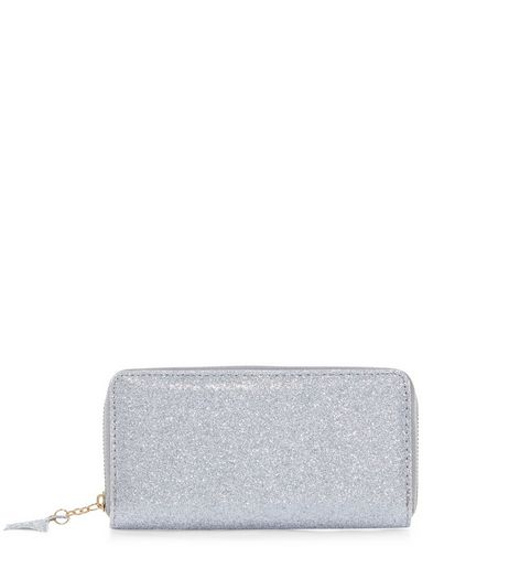 Silver Glitter Star Zip Purse | New Look