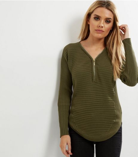 Cameo Rose Khaki Ribbed Zip Front Jumper  | New Look