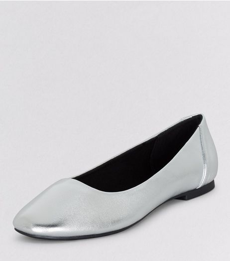 Teens Silver Patent Square Toe Shoes | New Look