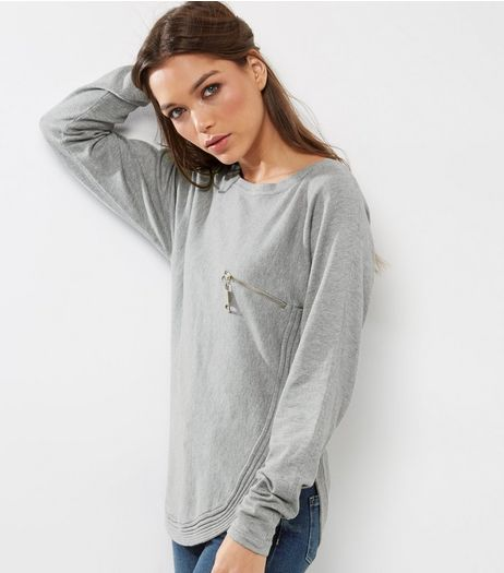 Cameo Rose Pale Grey Zip Pocket Jumper  | New Look
