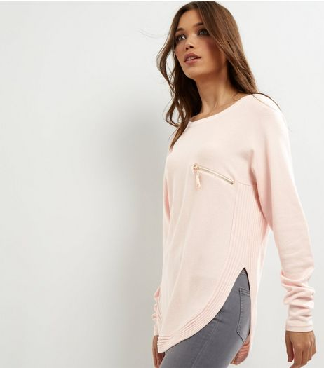 Cameo Rose Shell Pink Zip Pocket Jumper  | New Look