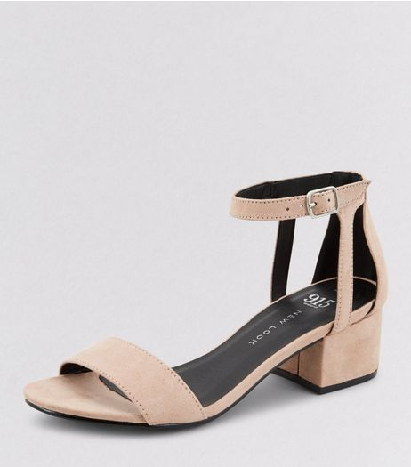 Teens Pink Suedette Ankle Strap Block Heels | New Look