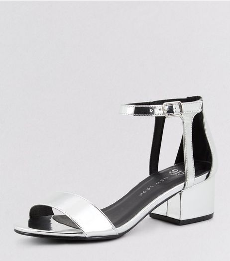 Teens Silver Ankle Strap Block Heels | New Look