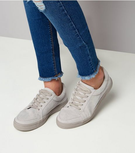 Teens Grey Suedette Lace Up Trainers | New Look