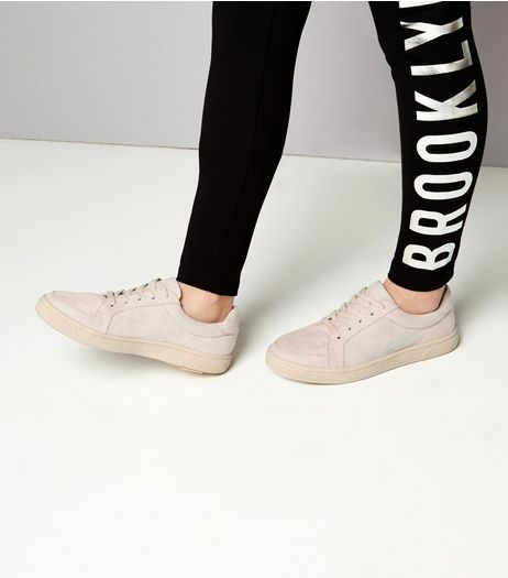 Teens Pink Suedette Lace Up Trainers | New Look