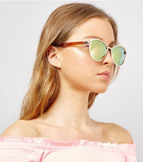 Pink Matte Holographic Lens Sunglasses | New Look