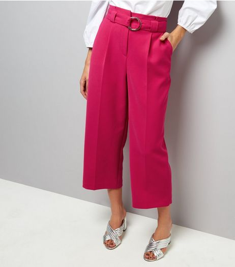 Bright Pink Hoop Belt Wide Leg Trousers | New Look