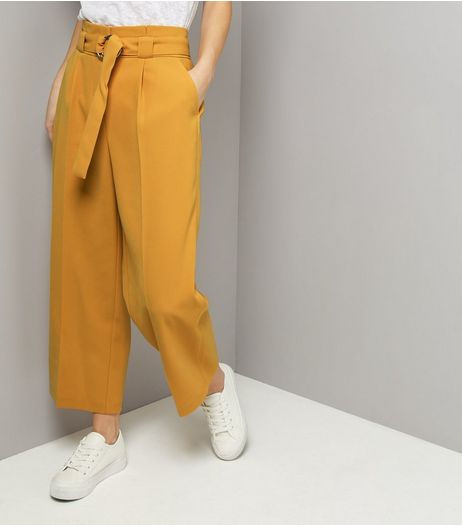 Yellow Hoop Belt Wide Leg Trousers | New Look