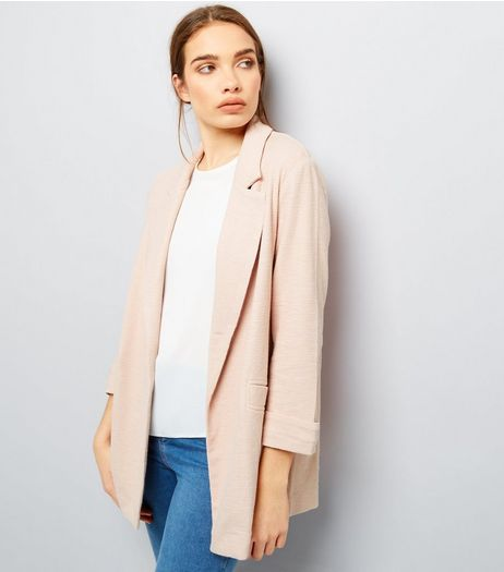 Shell Pink Girlfriend Jersey Blazer  | New Look
