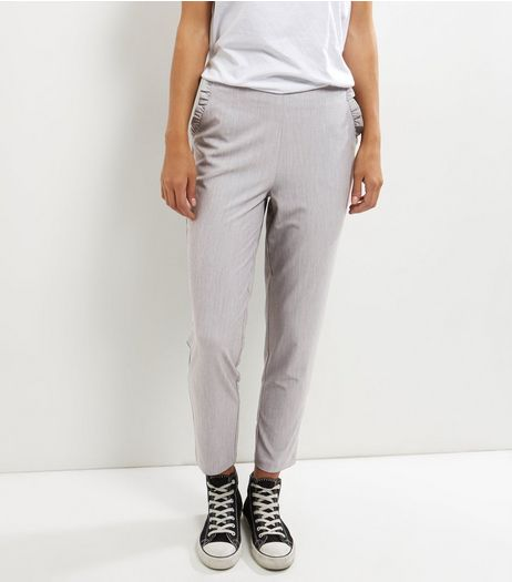 Grey Frill Trim Pocket Slim Leg Trousers  | New Look