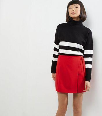 Red D Ring Wrap Mini Skirt