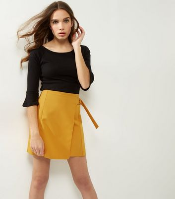 Yellow Wrap Front D Ring Mini Skirt