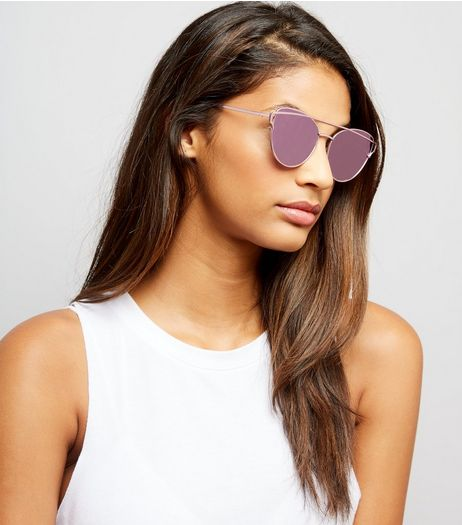 Pink Bar Front Sunglasses | New Look