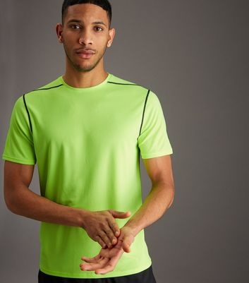 Yellow Mesh Short Sleeve Sports T-Shirt