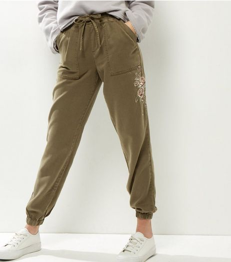 Khaki Rose Embroidered Joggers  | New Look