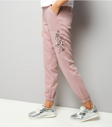 Pink Rose Embroidered Joggers | New Look
