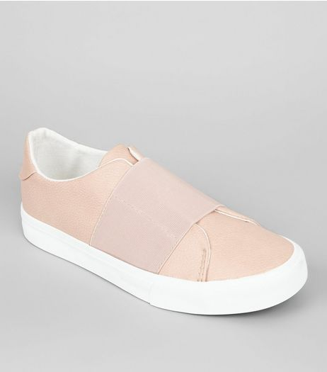 Pink Elasticated Strap Trainers | New Look