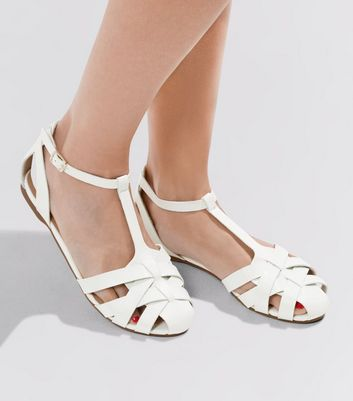 White Cross Strap Front Sandals  | New Look