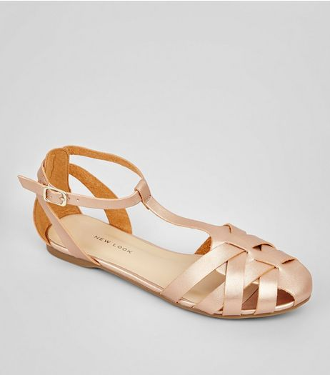 Rose Gold Metallic Cage Strap Sandals | New Look