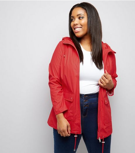 Curves Red Matte Rain Coat  | New Look